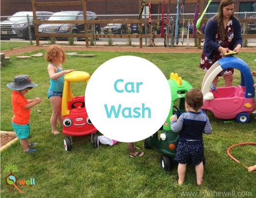 Children washing toy cars