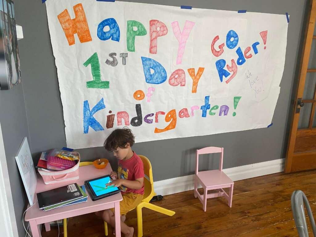 Kindergartner at home