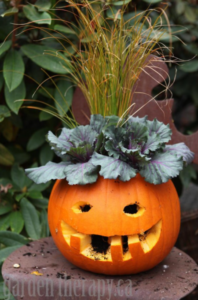 Jack-o-lantern planter