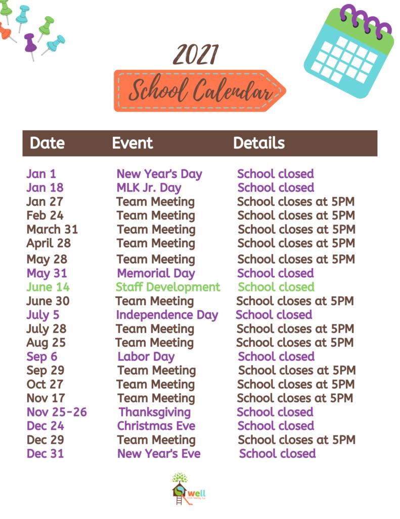 The Well 2021 School Calendar